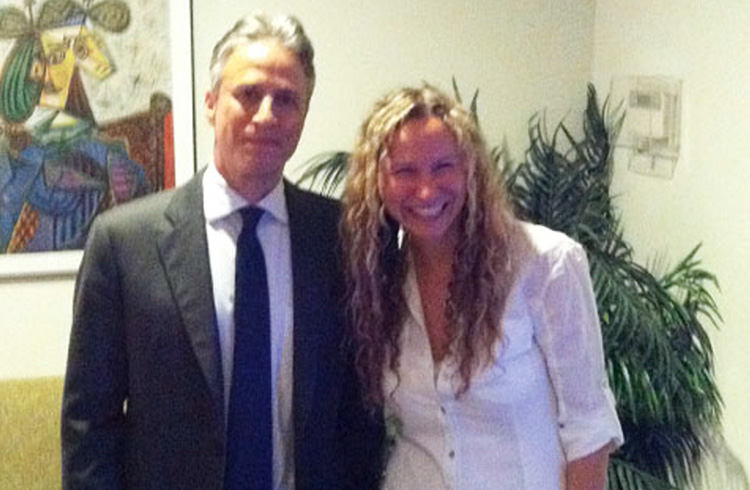 Alison Grand and The Daily Show host Jon Stewart gather in the green room in advance of a segment pegged to Amazon.com's self-publishing platform, CreateSpace<