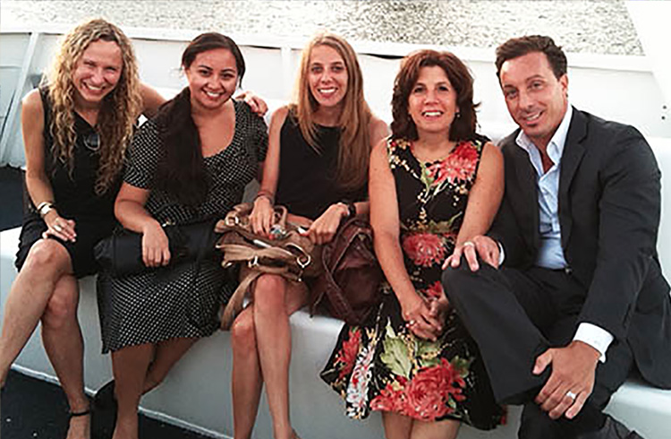 Grand Communications' Alison Grand, Laura Liebeck, Jaymie Presberg and Rachel Tringali celebrate Coby Electronics' 20th anniversary along with Coby's Michael Paladino on a sunset cruise around Manhattan