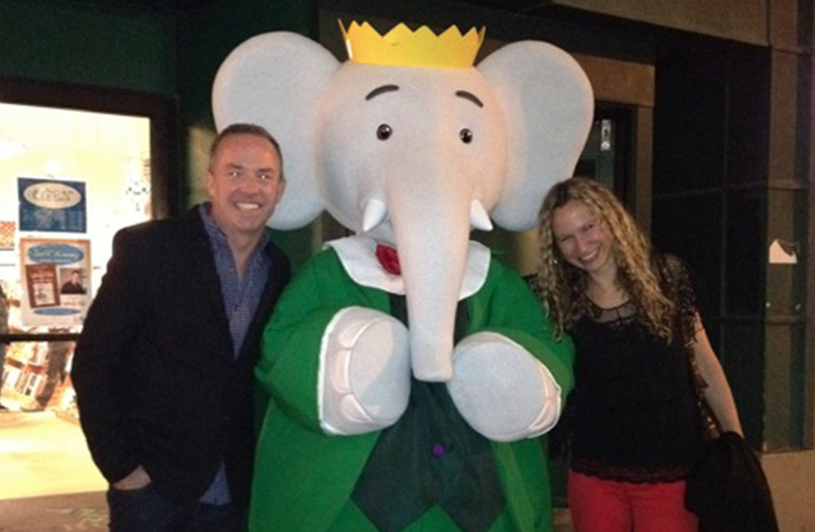 The world's most famous elephant, Babar, gets his close-up with Grand Communications' Alison Grand and Nelvana Enterprises' Andrew Kerr