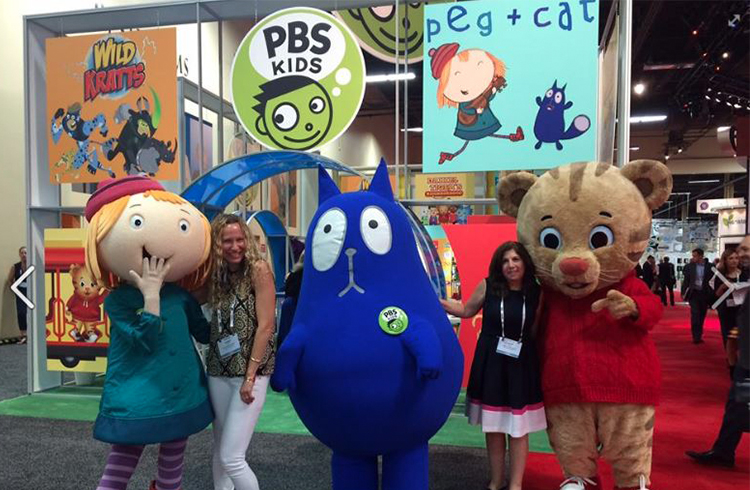 Alison Grand and Laura Liebeck of Grand Communications join the stars of the PBS KIDS hit TV series Daniel Tiger's Neighborhood and Peg + Cat at Licensing Expo 2015
