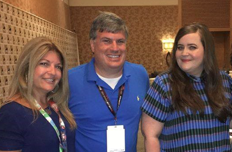 Team Grand's Adam Fenton and Hali Simon with SNL's Aidy Bryant, voice of star D.D. Danger in Amazon Studios original kids' series Danger & Eggs at San Diego Comic-Con