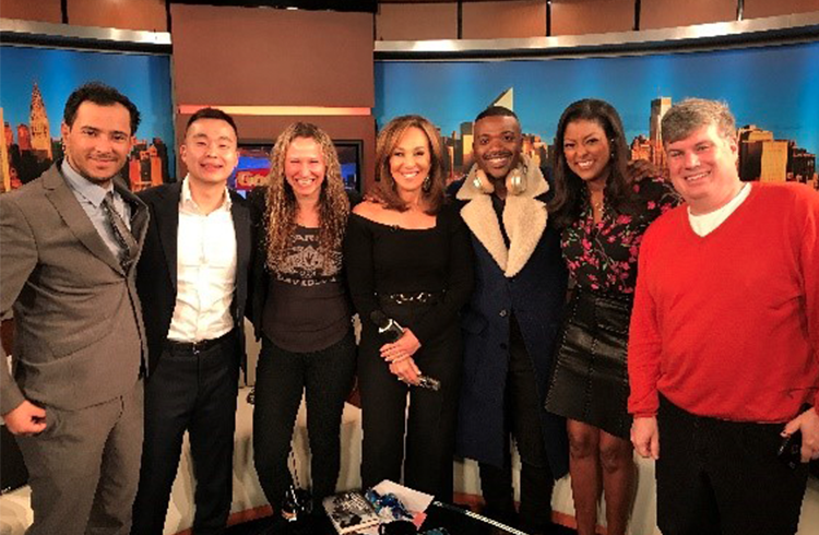 The Grand team's Alison Grand and Adam Fenton on-set with Raycon co-founders Ray J and Ray Lee of Cowboy Electronics at Fox 5 Good Day NY after showing off some of the company's newest gear