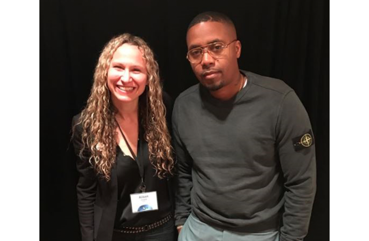 "Alison Grand and Grammy-nominated recording artist Nas promoting WNET's Great Performances ""Nas Live From the Kennedy Center: Classical Hip-Hop"" at the Television Critics Association Winter Press Tour in Pasadena"